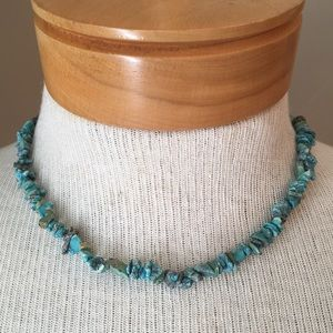 Blue Turquoise Chip Necklace with Sterling Clasp